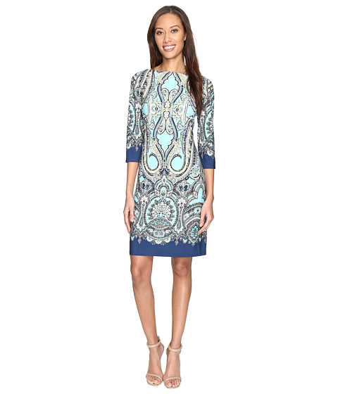 London Times Regal Scroll Paisley 3/4 Shift Dress