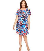 London Times - Plus Size Shadow Bouquet Cold Shoulder Trap Dress