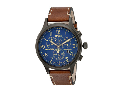Timex Timex Expedition Scout Chrono Leather Strap - Brown/Gray/Blue