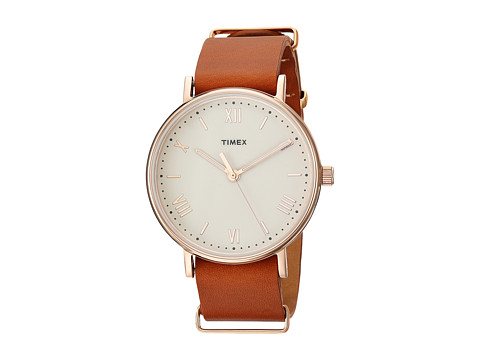 Timex Southview 41 Leather Strap - Tan/Rose Gold Tone/Silver Tone