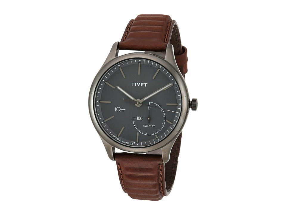 Timex IQ+ Move Leather Strap (Brown/Gray/Black) Watches