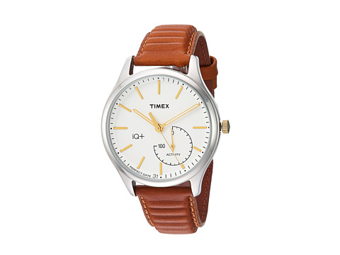 Timex IQ+ Move Leather Strap - Caramel Brown/Silver Tone/White