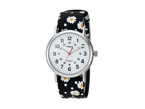 Timex Weekender Nylon Slip-Thru Strap - Black Floral/White