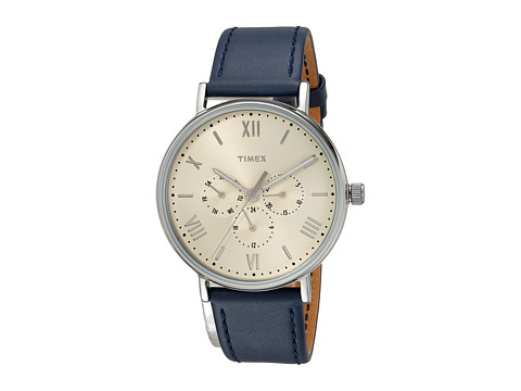 Timex Southview 41 Multifunction Leather Strap - Blue/White