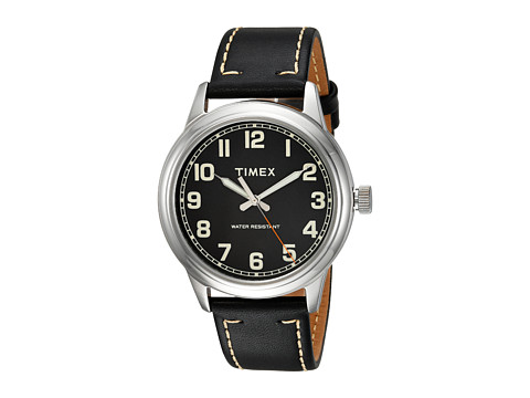 Timex New England Leather Strap - Black/Silver Tone