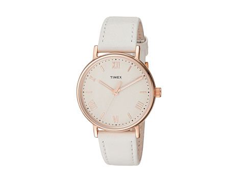 Timex Southview 37 Leather Strap - White/Rose Gold Tone/Cream