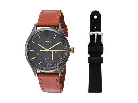 Timex IQ+ Move Leather Strap with Extra Silicone Strap - Brown/Black