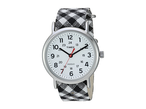 Timex Weekender Nylon Slip-Thru Strap - Black Gingham/White