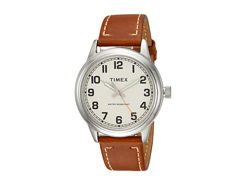 Timex New England Leather Strap - Tan/Cream