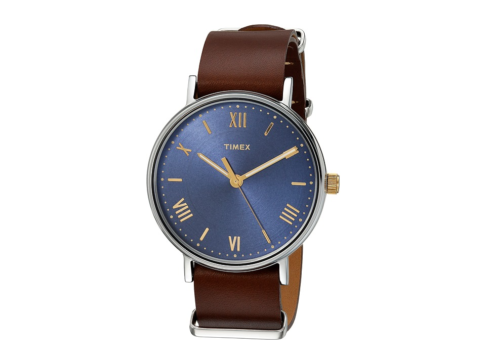 Timex Southview 41 Leather Strap (Brown/Blue) Watches