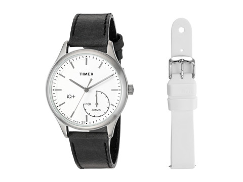 Timex IQ+ Move Leather Strap with Extra Silicone Strap - Black/White