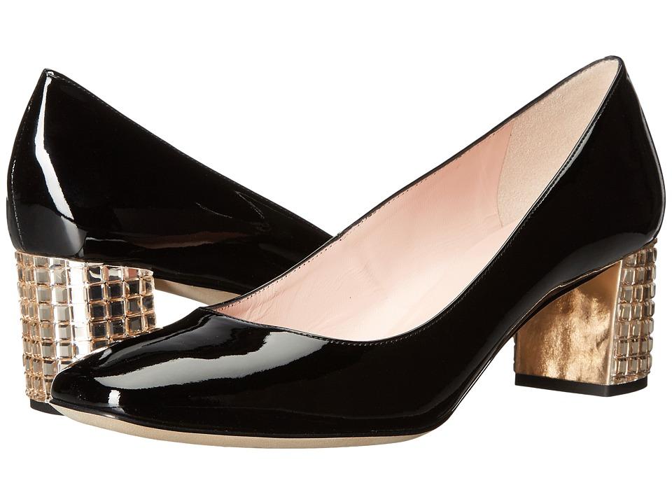 Kate Spade New York Danika Too (Black Patent/Light Natural Stoned Heel) High Heels