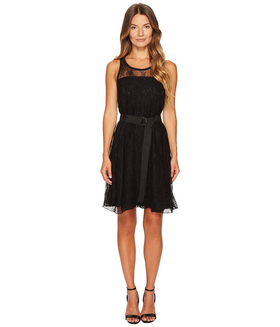 Sportmax - Assiro Lace Printed Jersey Dress (Black) Womens Dress