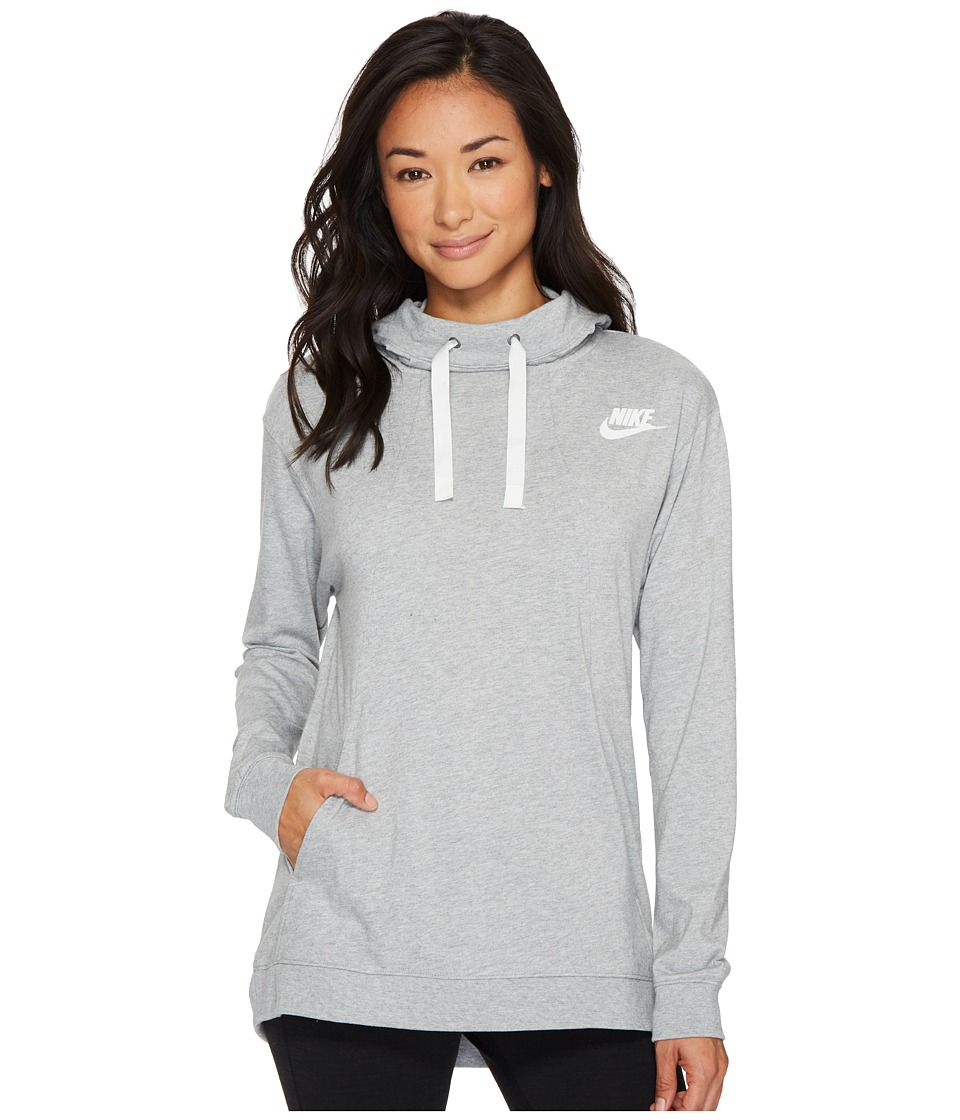 Nike Sportswear Gym Classic Pullover Hoodie (Dark Grey Heather/Sail) Women