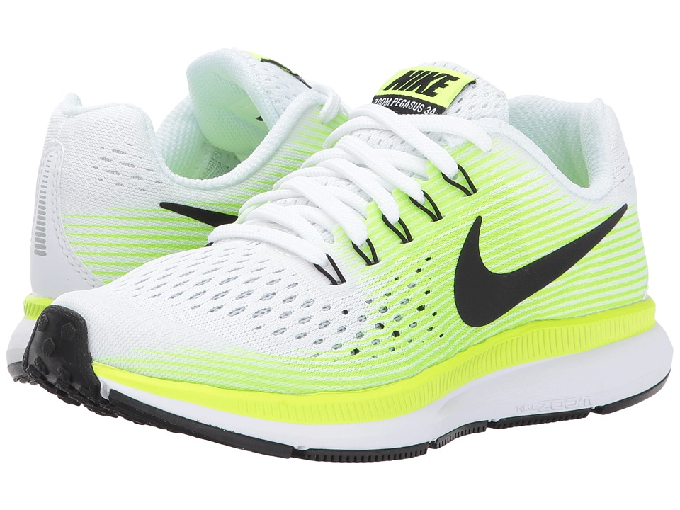 Nike Kids Zoom Pegasus 34 (Little Kid/Big Kid) (White/Black/Volt/Ghost Green) Boys Shoes