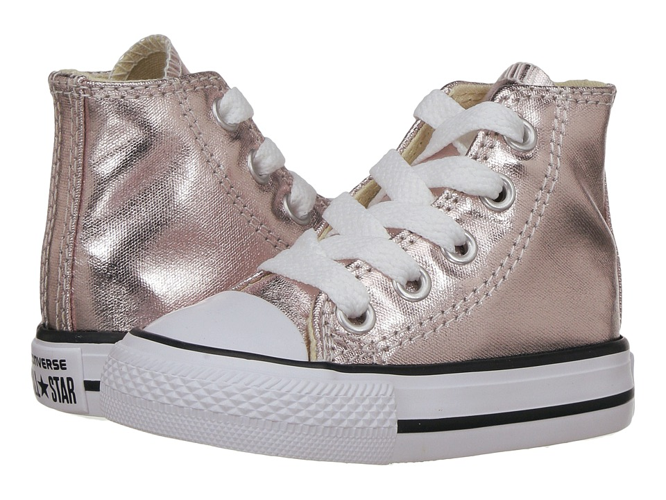 Converse Kids Chuck Taylor All Star Hi Metallic (Infant/Toddler) (Rose Quartz/White/Black) Girl