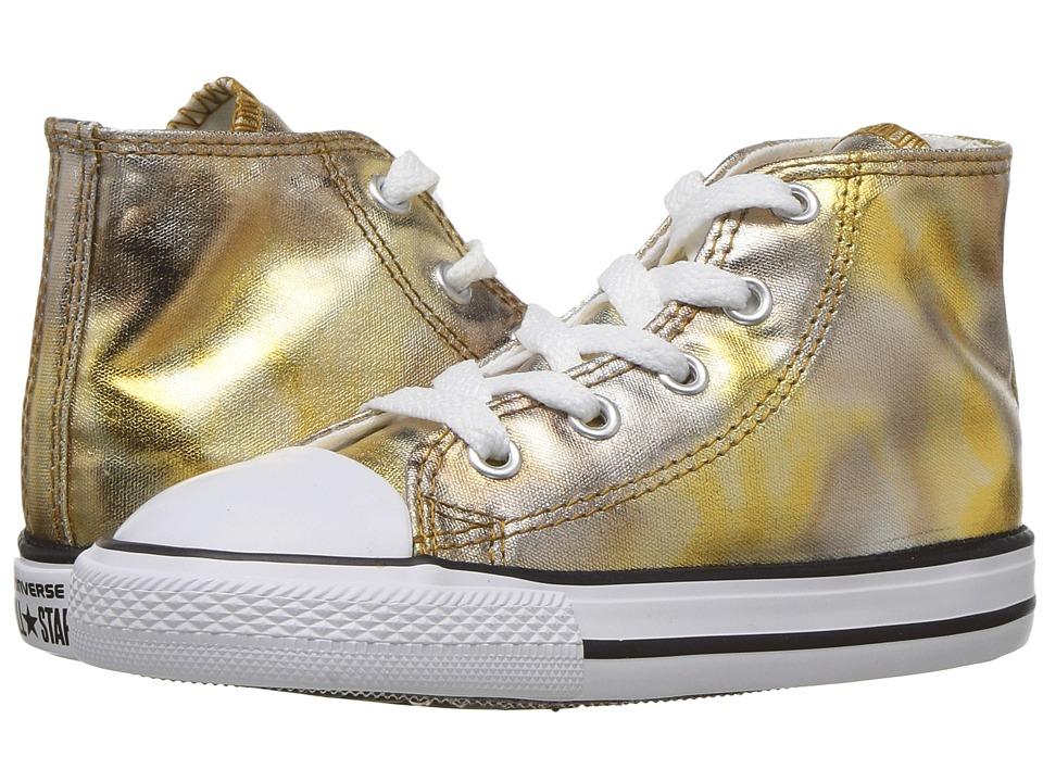 Converse Kids Chuck Taylor All Star Hi Metallic (Infant/Toddler) (Silver Gold/White/Black) Girl