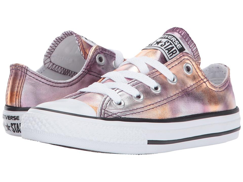 Converse Kids Chuck Taylor All Star Ox Metallic (Little Kid) (Dusk Pink/White/Black) Girl