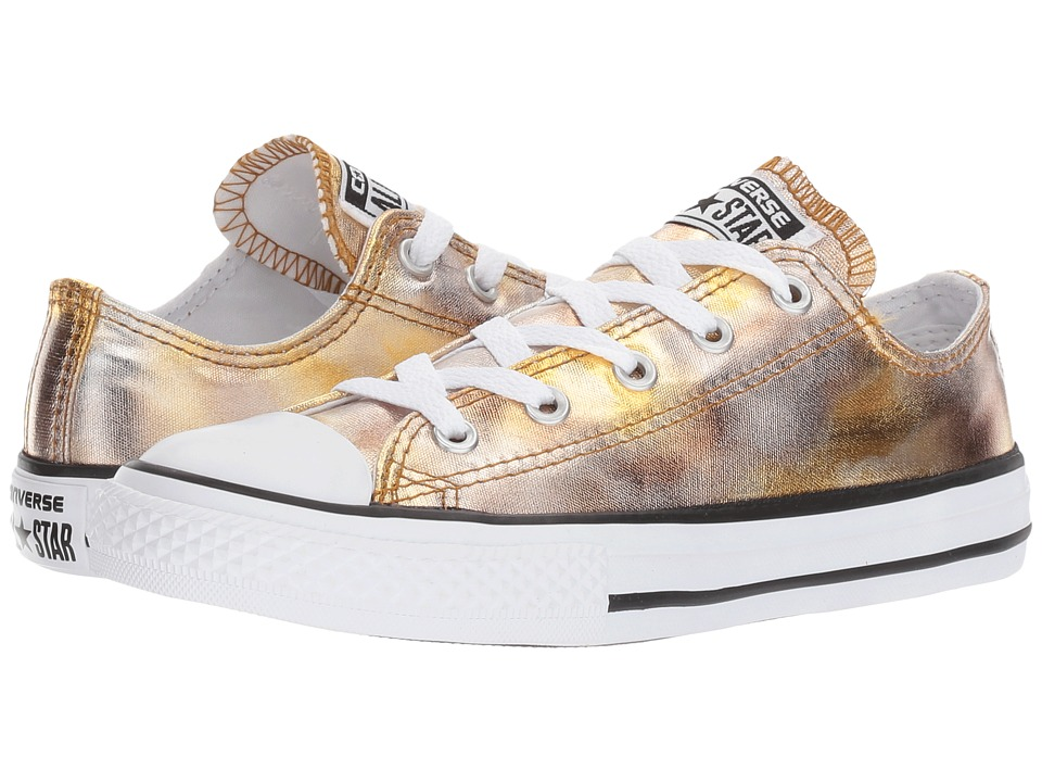 Converse Kids Chuck Taylor All Star Ox Metallic (Little Kid) (Silver Gold/White/Black) Girl