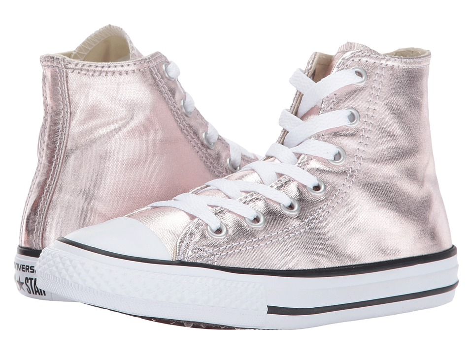 Converse Kids Chuck Taylor All Star Hi Metallic (Little Kid) (Rose Quartz/White/Black) Girl