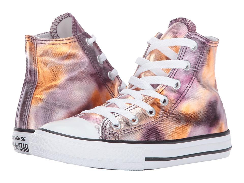 Converse Kids Chuck Taylor All Star Hi Metallic (Little Kid) (Dusk Pink/White/Black) Girl