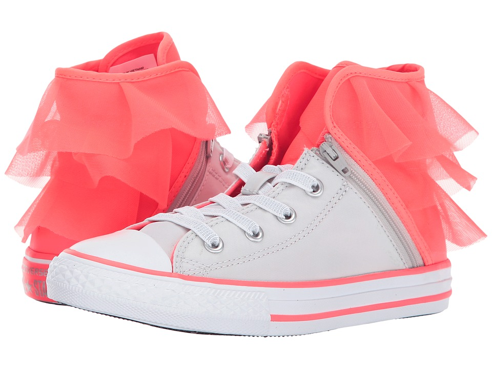 Converse Kids Chuck Taylor All Star Block Party Hi (Little Kid/Big Kid) (Pure Silver/Hot Punch/White) Girl