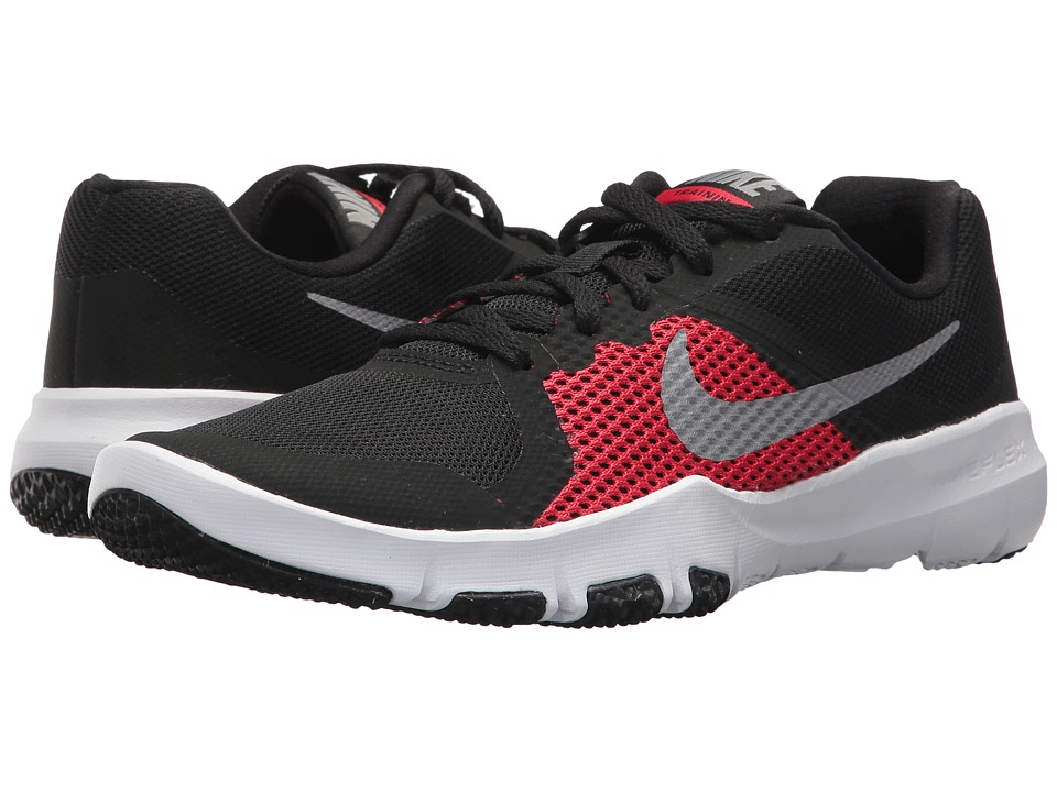 Nike Kids Flex TR Control (Little Kid) (Black/Metallic Cool Grey/University Red) Boys Shoes