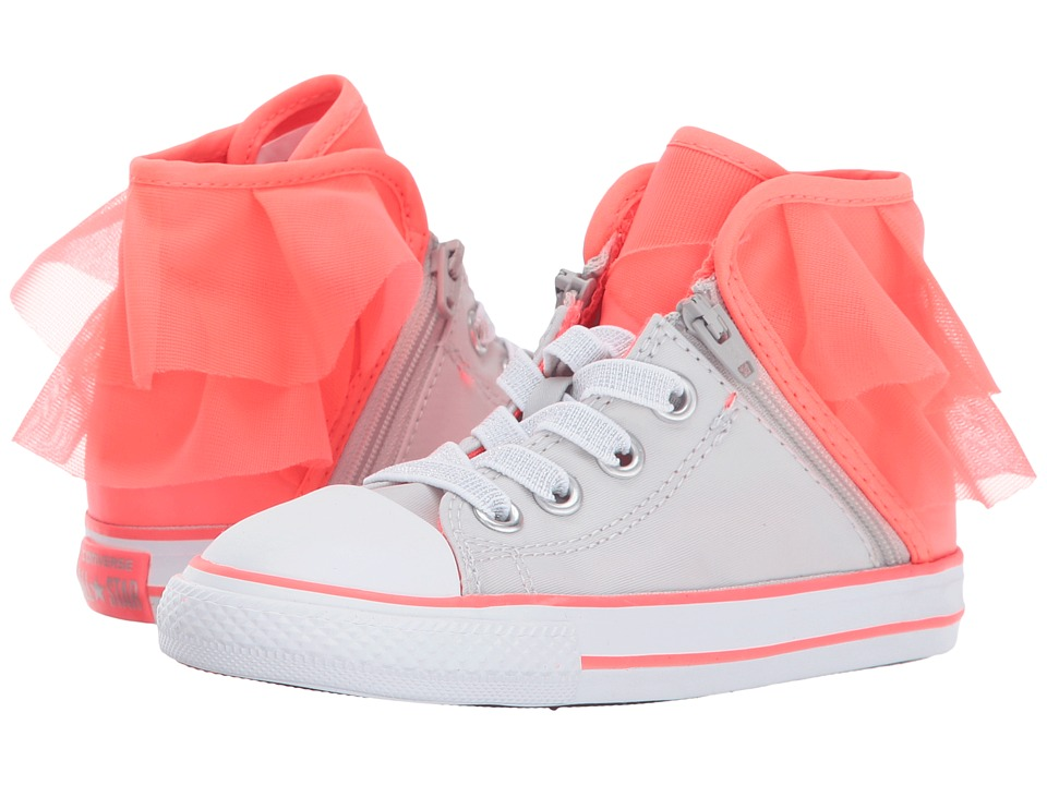 Converse Kids Chuck Taylor All Star Block Party Hi (Infant/Toddler) (Pure Silver/Hot Punch/White) Girl's Shoes