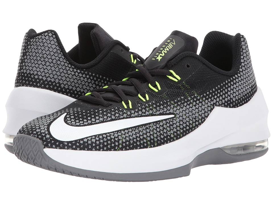 Nike Kids Air Max Infuriate Basketball (Big Kid) (Black/White/Volt/Cool Grey) Boys Shoes