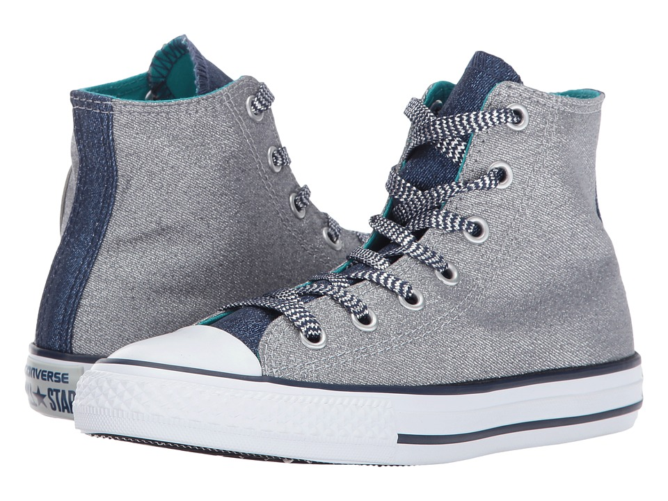 Converse Kids Chuck Taylor All Star Shine Hi (Little Kid/Big Kid) (Wolf Grey/Midnight Navy/White) Girl