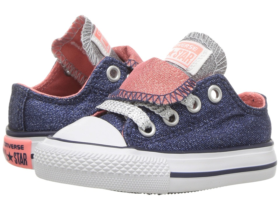 Converse Kids Chuck Taylor All Star Double Tongue Ox (Infant/Toddler) (Midnighat Navy/Sunblush/White) Girl