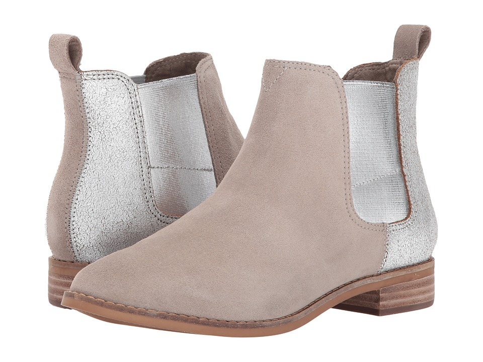 TOMS Ella (Desert Taupe Suede/Silver Metallic Leather) Women