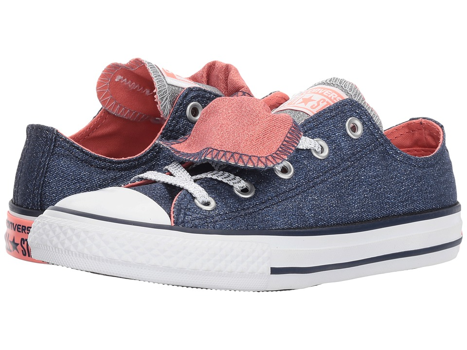 Converse Kids Chuck Taylor All Star Double Tongue Ox (Little Kid/Big Kid) (Midnight Navy/Sunblush/White) Girl