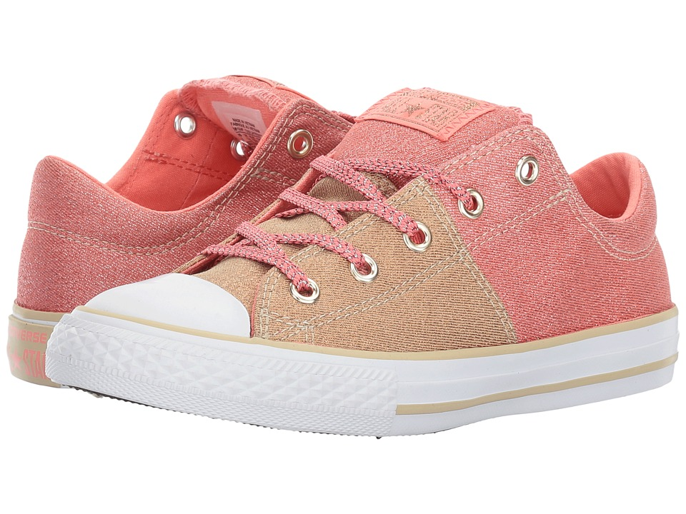 Converse Kids Chuck Taylor All Star Madison Ox (Little Kid/Big Kid) (Pale Gold/Sunblush/White) Girl