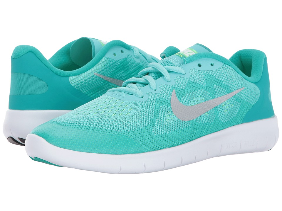 Nike Kids Free RN 2017 (Big Kid) (Aurora Green/Metallic Silver/Clear Jade) Girls Shoes