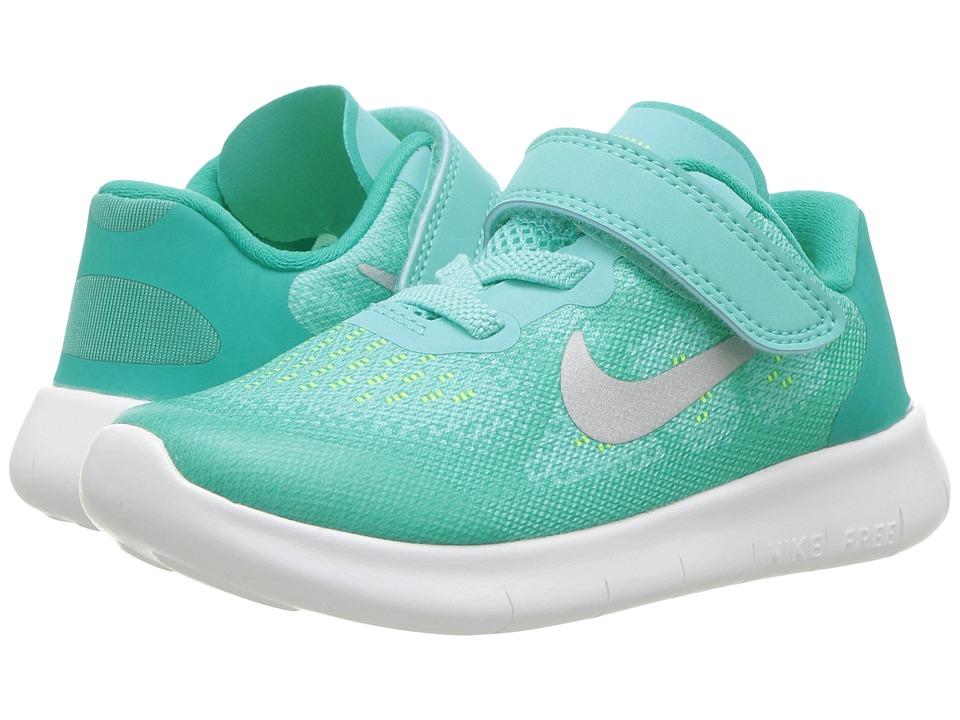 Nike Kids Free RN 2017 (Infant/Toddler) (Aurora Green/Metallic Silver/Clear Jade) Girls Shoes