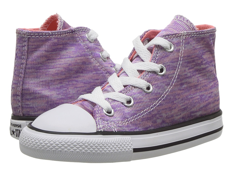 Converse Kids Chuck Taylor All Star Jersey Knit Hi (Infant/Toddler) (Bright Violet/Sunblush/White) Girl
