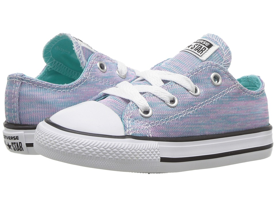 Converse Kids Chuck Taylor All Star Jersey Knit Ox (Infant/Toddler) (Light Aqua/Pink Pow/White) Girl
