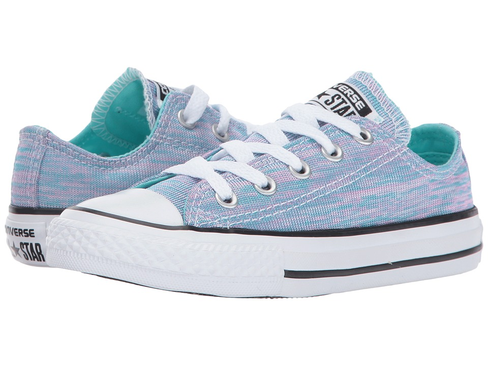 Converse Kids Chuck Taylor All Star Jersey Knit Ox (Little Kid) (Light Aqua/Pink Pow/White) Girl