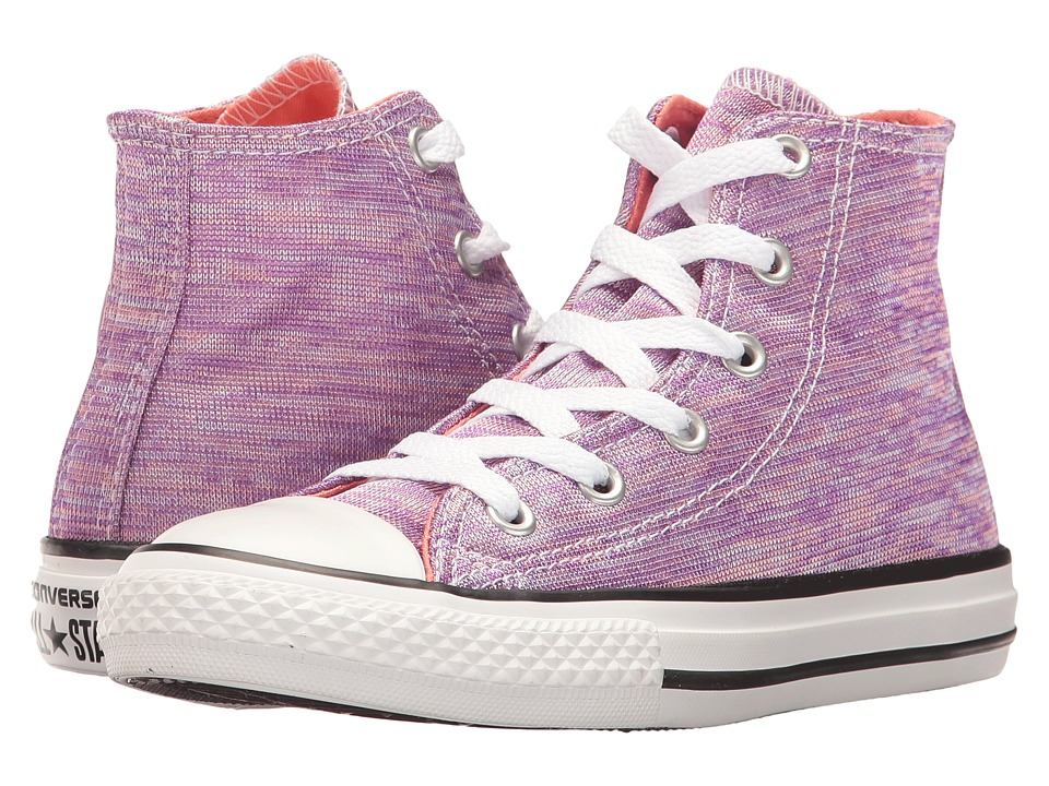 Converse Kids Chuck Taylor All Star Jersey Knit Hi (Little Kid) (Bright Violet/Sunblush/White) Girl