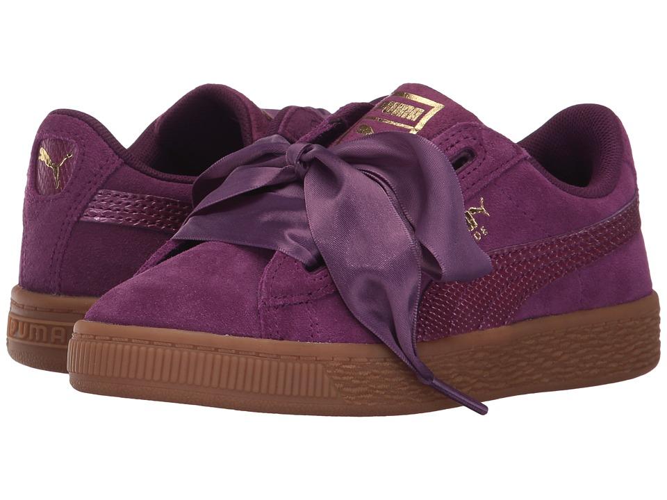 Puma Kids Suede Heart SNK (Little Kid/Big Kid) (Dark Purple/Dark Purple) Girls Shoes