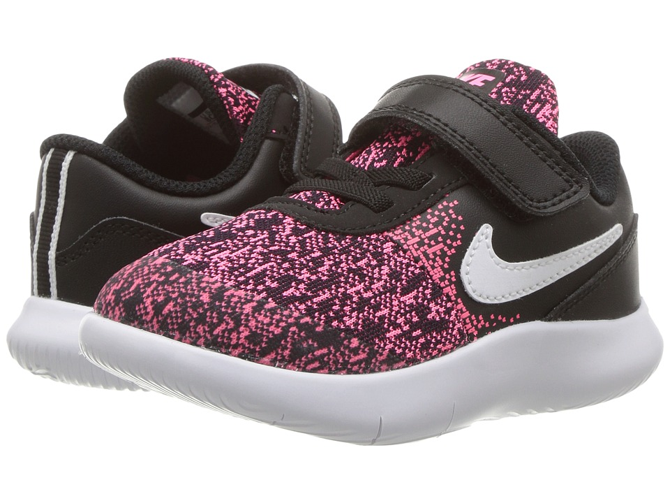 Nike Kids Flex Contact (Infant/Toddler) (Black/White/Racer Pink) Girls Shoes