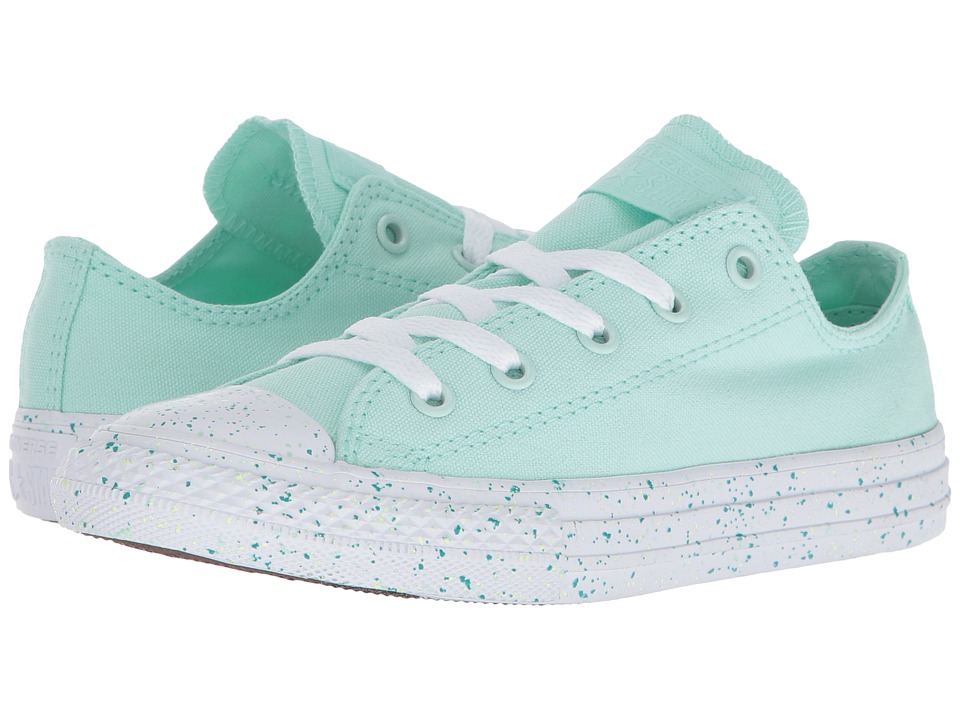 Converse Kids Chuck Taylor All Star Speckled Midsole Ox (Little Kid) (Mint Foam/White/White) Girl