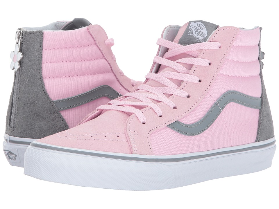 Vans Kids Sk8-Hi Zip (Little Kid/Big Kid) ((Flower Zip) Pink Mist/Monument) Girls Shoes