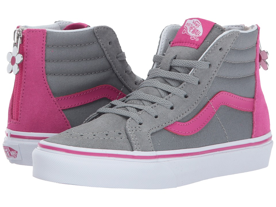 Vans Kids Sk8-Hi Zip (Little Kid/Big Kid) ((Flower Zip) Monument/Very Berry) Girls Shoes