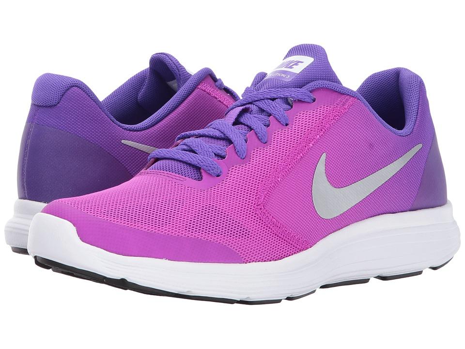 Nike Kids Revolution 3 (Big Kid) (Hyper Violet/Metallic Silver/Hyper Grape) Girls Shoes