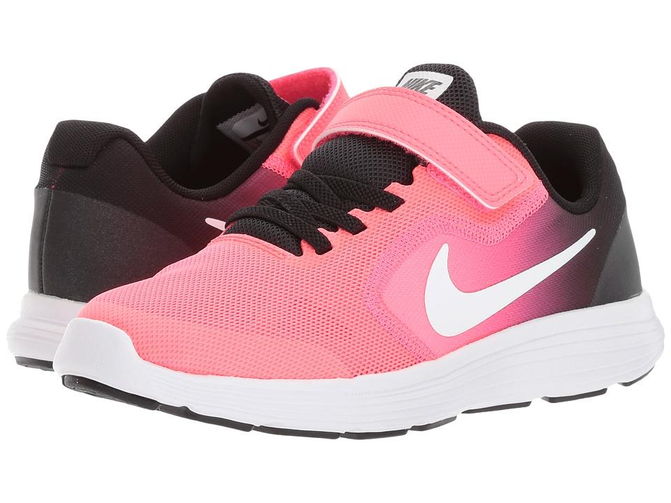 Nike Kids Revolution 3 (Little Kid) (Black/White/Racer Pink/Black) Girls Shoes
