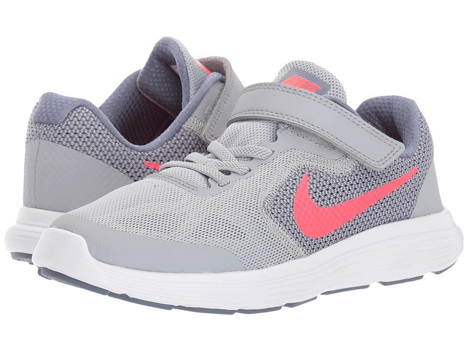 Nike Kids Revolution 3 (Little Kid) (Wolf Grey/Solar Red/Dark Sky/Blue/White) Girls Shoes