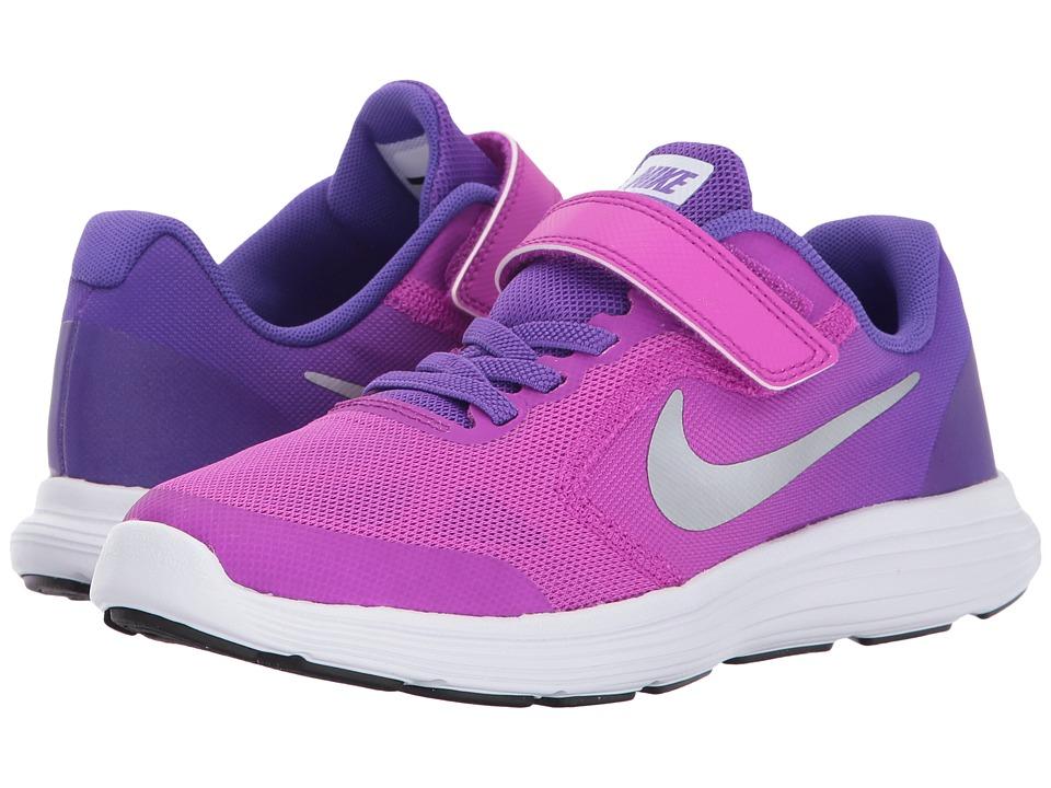 Nike Kids Revolution 3 (Little Kid) (Hyper Violet/Metallic Silver/Hyper Grape) Girls Shoes