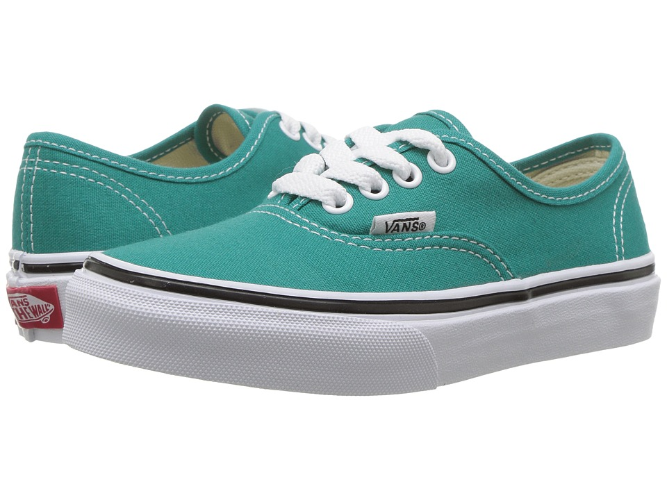 Vans Kids Authentic (Little Kid/Big Kid) (Teal Blue/True White) Girls Shoes